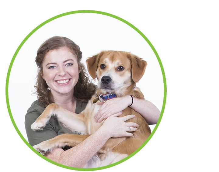 Caroline O'Keefe and Penny (dog)