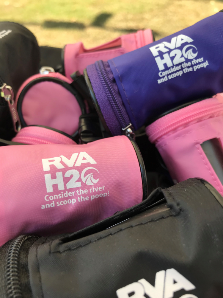 pink and blue poop bag dispensers from RVA H20